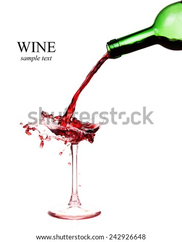 Broken wineglass on the table. Poured red wine, like blood.  (with sample text) - stock photo