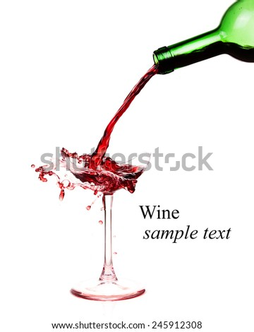 Broken wineglass on the table. Poured red wine, like blood.(with sample text) - stock photo