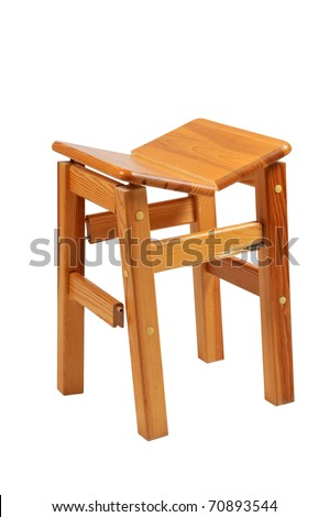 Broken Wooden Chair On White Background