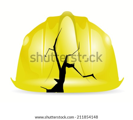 broken yellow construction helmet illustration design over a white background - stock photo