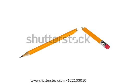 broken yellow pencil with eraser isolated on white background - stock photo