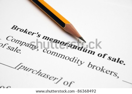Broker memorandum of sale