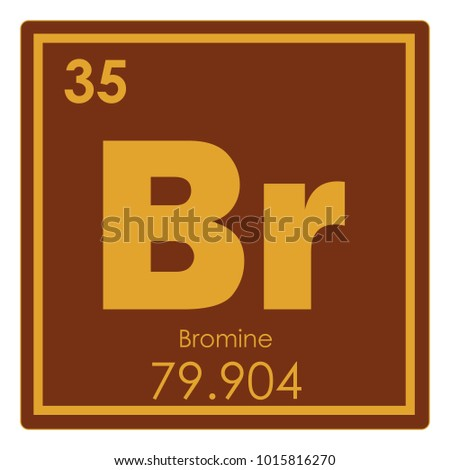 Bromine Chemical Element Periodic Table Science Stock Illustration
