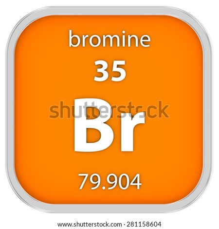 Bromine material on the periodic table. Part of a series. - stock photo