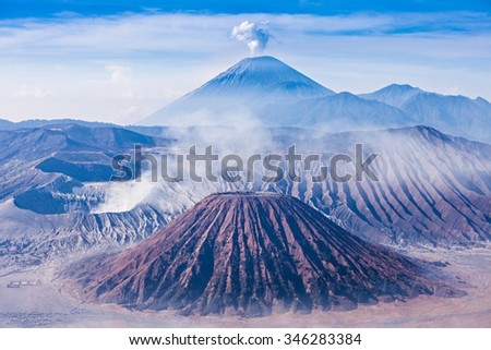Bromo, Batok and Semeru volcanoes, Java island, Indonesia - stock photo