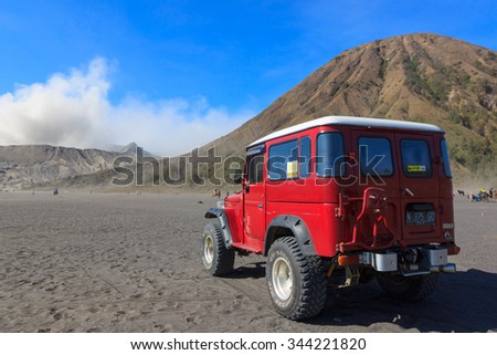 BROMO, INDONESIA - NOV 22, 2015 : Unidentified 4x4 Jeep for rent at Mount Bromo on November 22, 2015 in Java, Indonesia. Mount Bromo is one of the most visited tourist attractions