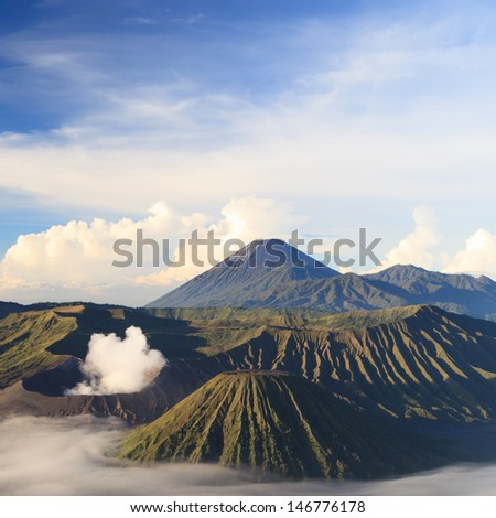 Bromo Mountain in Tengger Semeru National Park at sunrise, East Java, Indonesia - stock photo