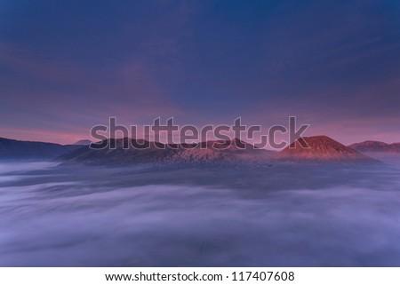 Bromo Mountain Region National Park East Java Indonesia at Dusk - stock photo