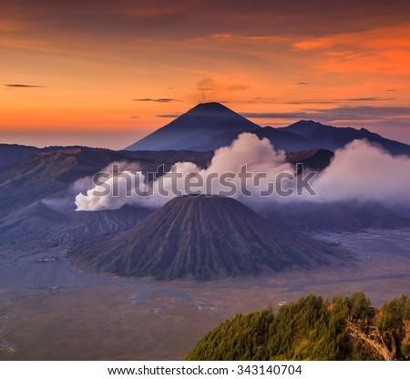 Bromo Tengger Semeru National Park in East Java, Indonesia - There are five volcanoes inside the Tengger Caldera : Mount Bromo, Mount Batok, Mount Kursi, Mount Watangan and Mount Widodaren - stock photo