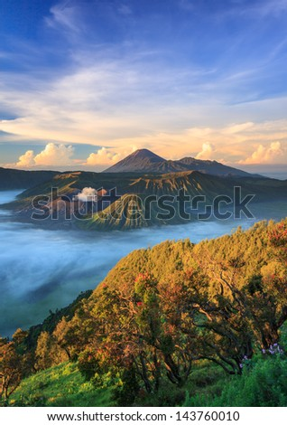 Bromo volcano at sunrise,Tengger Semeru National Park, East Java, Indonesia - stock photo