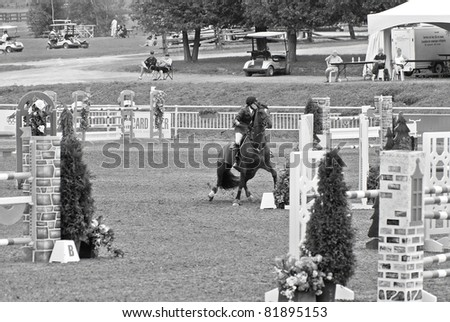 BROMONT-CANADA JULY 29: Unknown rider crash on  a hurdle during 2011, INTERNATIONAL BROMONT on July 29, 2011 At the Equestrian 1976 Montreal Olympic Park.