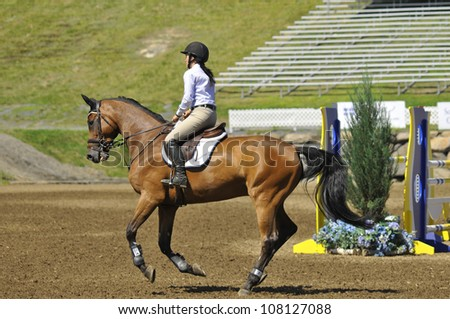BROMONT-CANADA JULY 20: Unknown rider on a horse during 2012, INTERNATIONAL BROMONT on July 20, 2012 At the Equestrian 1976 Montreal Olympic Park. - stock photo