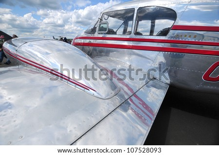 BROMONT - QUEBEC - CANADA JULY 1: Plane close up at the LEUCAN Air show a for cancer research on July 01, 2012 Bromont Canada.