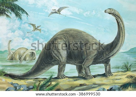 Brontosaurus One of the heaviest land animals ever known weighing over 20 tons (20 tonnes). Length about 60 ft (18 m). Background: Rhamphorhynchus. Jurassic, about 170 - 135 million years ago.  - stock photo