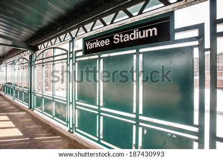 BRONX, NEW YORK CITY - MARCH 8 2014:  Train platform at NY Yankee Stadium.  Yankee Stadium in located in the South Bronx of NYC