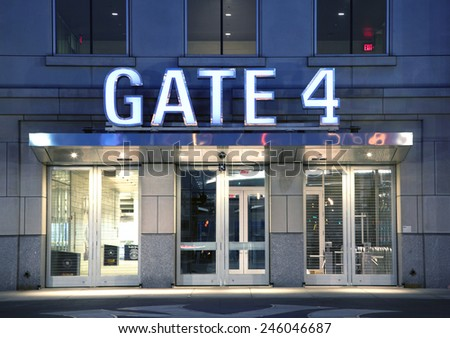 BRONX, NEW YORK - JUNE 20: Gate entrance to Yankee Stadium at twilight.   Taken June 20, 2014 in the County of the Bronx, NY.