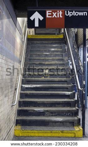 BRONX, NEW YORK - SEPTEMBER 13: New York City subway platform dirty steps.   Taken September 13, 2009 in New York City. - stock photo