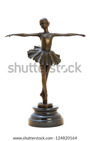Bronze antique figurine of the dancing ballerina. Isolated image.
