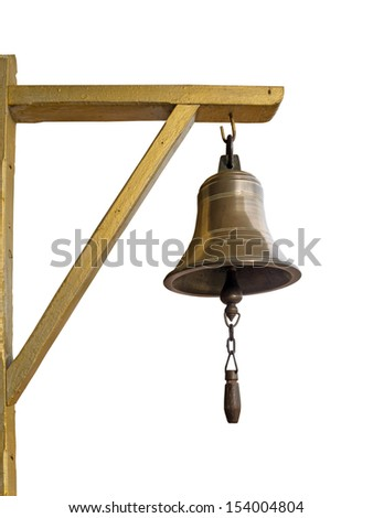 Bronze bell hanging on triangle wood isolated on white. - stock photo
