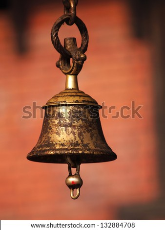 bronze bell in buddhist temple - stock photo