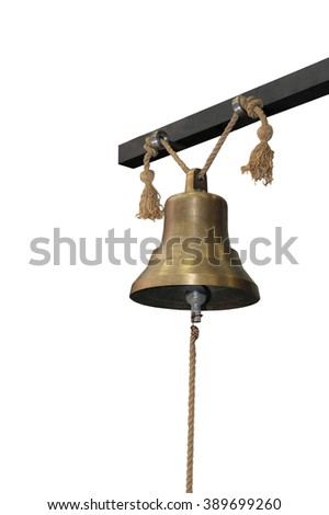 Bronze bell that hung on a metal beam isolated on white. - stock photo