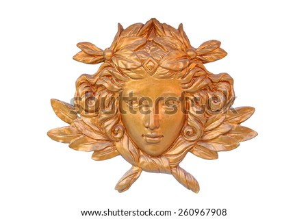 Bronze cast of lady face and flower isolated on white - stock photo