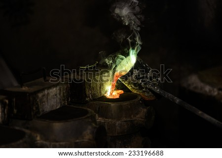 Bronze Casting in a Foundry - stock photo
