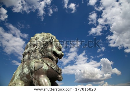 Bronze Guardian Lion Statue in the Forbidden City, Beijing, China