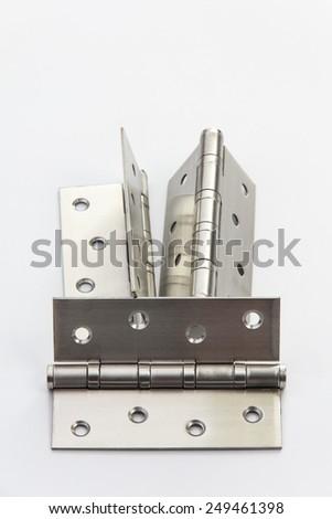bronze hinge on white background - stock photo