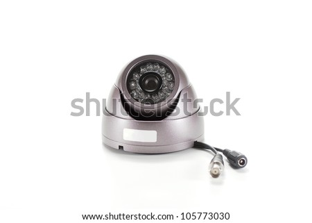 Bronze isolated video surveillance camera - stock photo