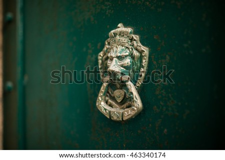 Bronze lion door knocker