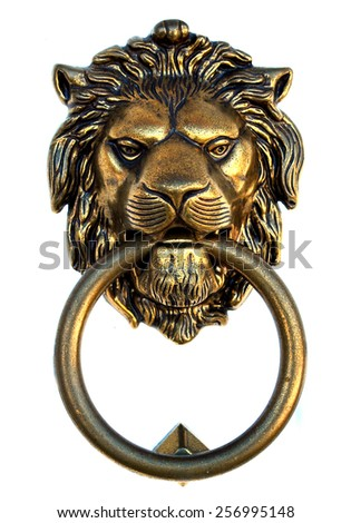 Bronze lion door knocker isolated on white background - stock photo