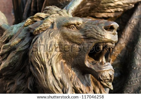 Bronze lion head - stock photo