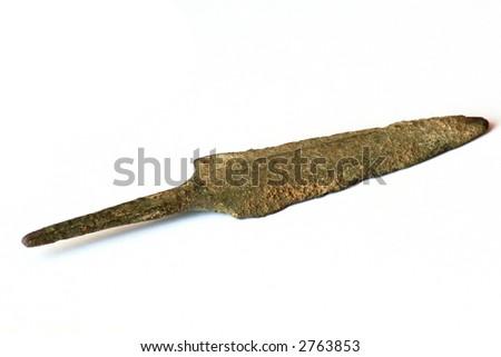 Bronze Luristan arrowhead, 8g, 500-1,000BC. - stock photo