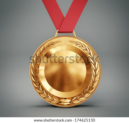 bronze medal isolated on a grey background
