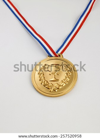bronze medal on the white background - stock photo