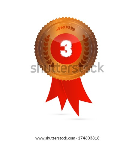Bronze Medal With Red Ribbon Isolated on White Background - Also Available in Vector Version - stock photo