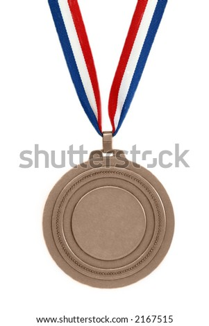Bronze medal with ribbon isolated - stock photo