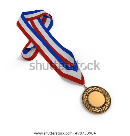 Bronze medal with tricolor ribbon on white. 3D illustration