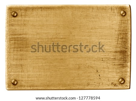 bronze metal plate with rivets isolated on white with clipping path - stock photo
