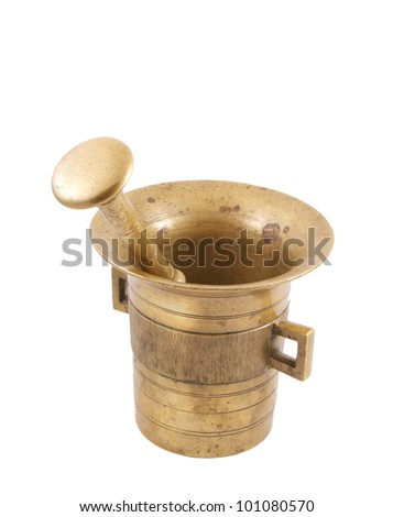 Bronze mortar and pestle - stock photo