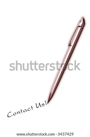 Bronze pen writing Contact Us! great for business postcard
