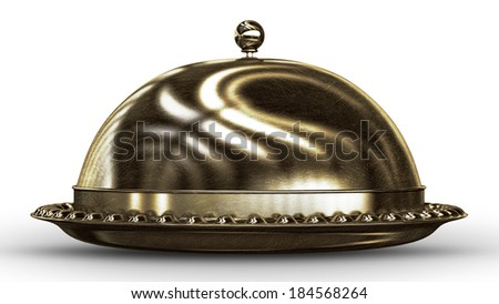 bronze platter  isolated on white background High resolution 3D image  - stock photo