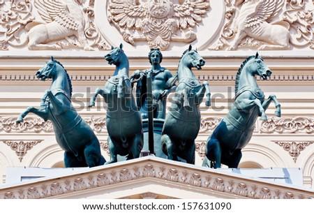 Bronze quadriga of the Bolshoi Theater - stock photo