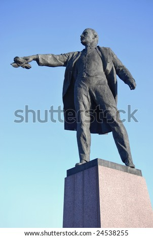 Bronze sculpture in style of socialist realism. A man in expressive pose.