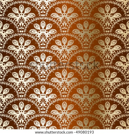Bronze seamless peacock sari pattern (JPG); vector version also available