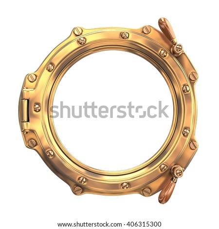 Bronze ship porthole isolated on white. 3d Illustration - stock photo