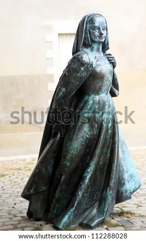 Bronze Statue of Anne of Brittany shot in Nantes, France - stock photo