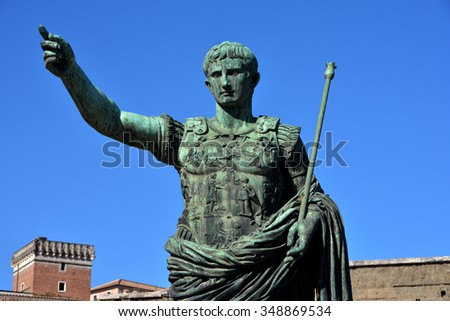 Bronze statue of Augustus, the first emperor of Rome father of the nation