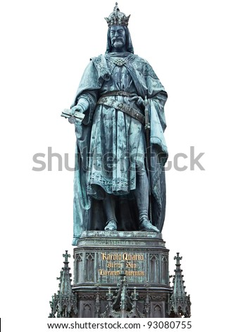 Bronze statue of Charles IV. in Prague - stock photo